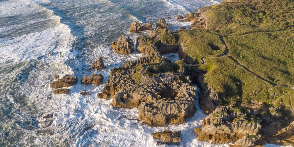 Aerial view of Pancake Rocks & Blowholes