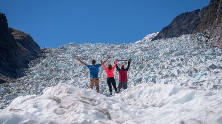 Hikers on Fox Glacier