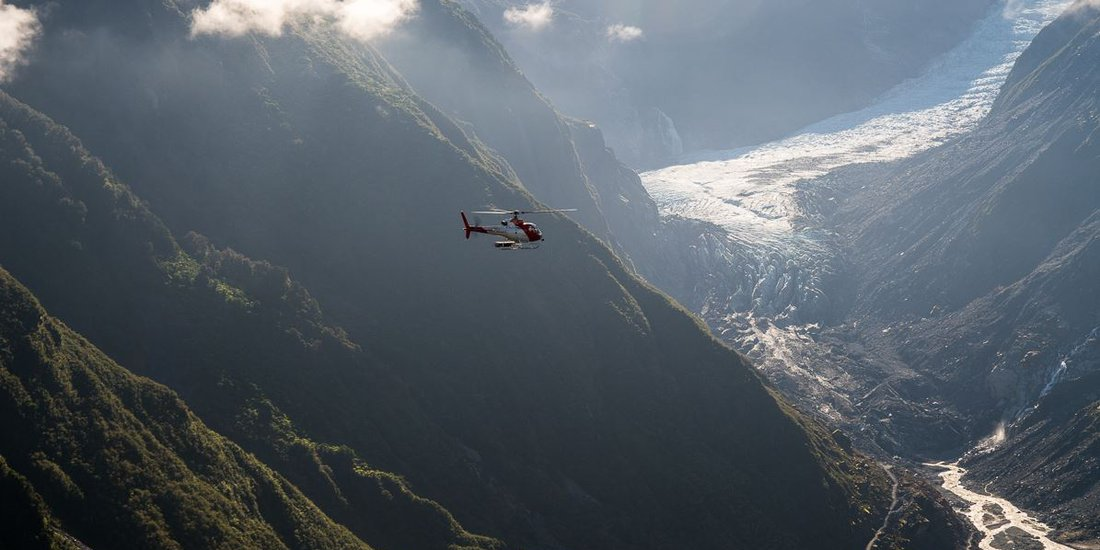 Helicopter flight over Fox Glacier