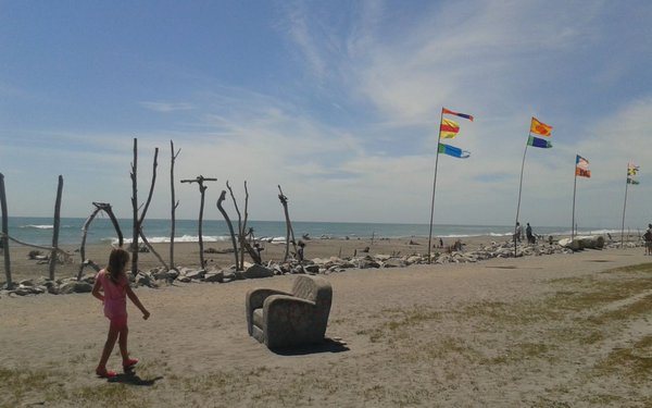 Driftwood & Sand: girl, flags, seat, sign