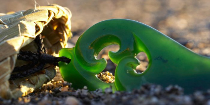 Pounamu on the beach