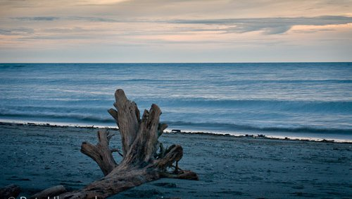 Hokitika sunset and driftwood